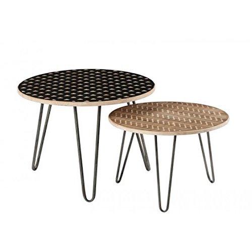 Juego de mesas encajables efecto madera
