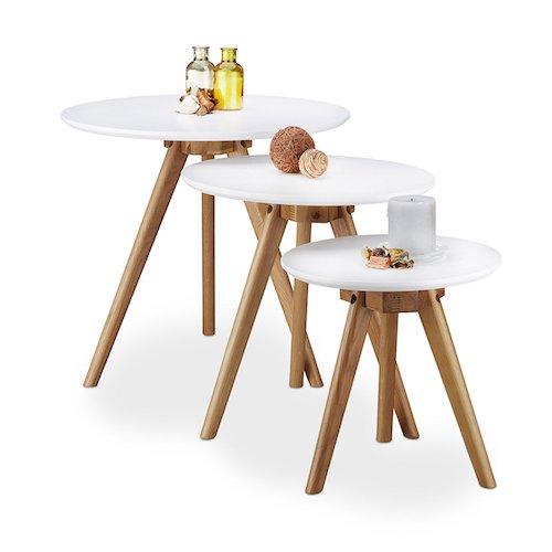 Juego de mesas nido en roble y blanco