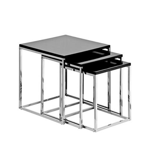 Mesa nido 3 en 1 diseño en color negro y cromado
