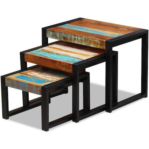 Mesas bajas encajables cuadradas de metal mesas nido - Mesas bajas de salon cuadradas ...