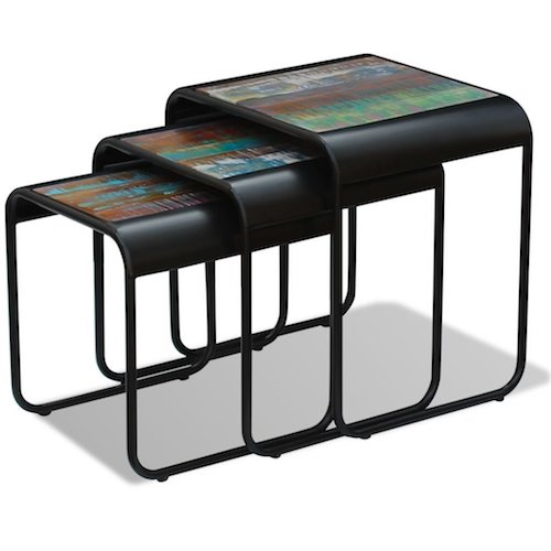 Mesas bajas encajables cuadradas de metal