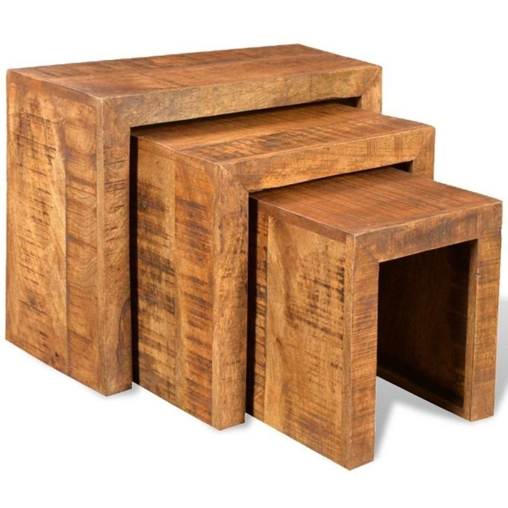 Set de 3 mesas nido de madera de mango mesas nido for Mesas de madera baratas