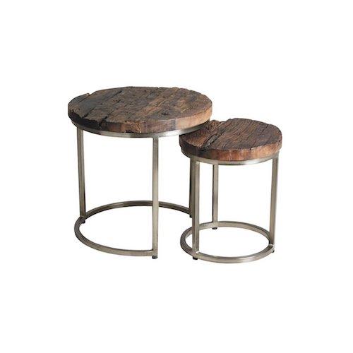 Juego de 2 mesas de madera maciza