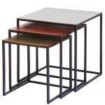 Juego de 3 mesas Design cuadrado Loft